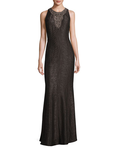 Sleeveless Embellished Jacquard Gown, Pewter