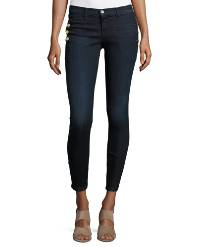 Zion Mid-Rise Skinny Ankle Jeans w/ Button Detail, Blue