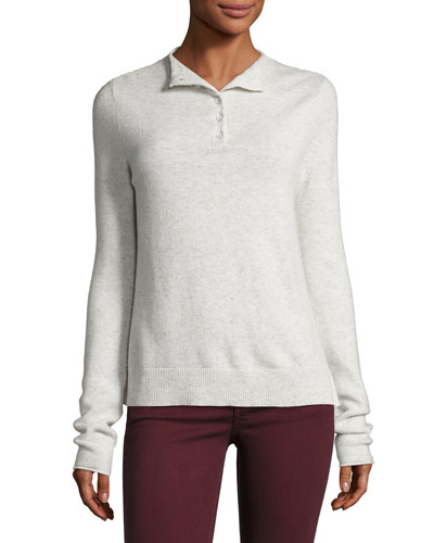 Charley Henley Sweater, Ivory Melange