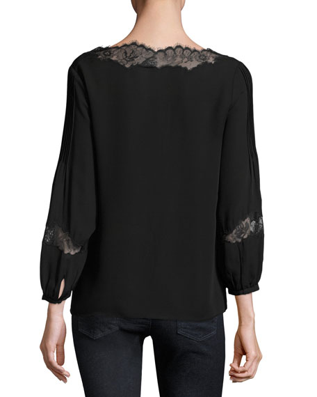 Olsone Lace-Trim Blouse, Caviar
