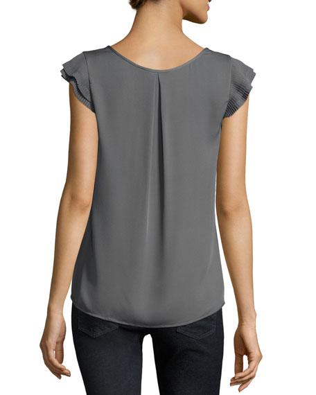 Nesrin Cap-Sleeve Silk Top, Granite