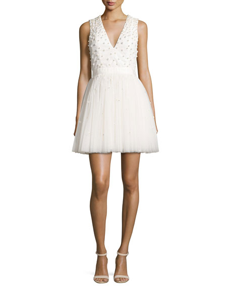 Alice + Olivia Shanda Embellished Party Dress, Cream