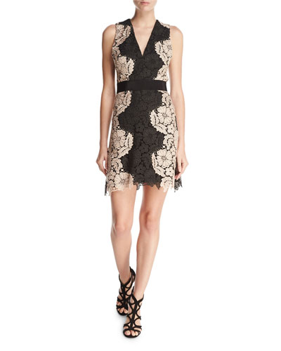 Patrice Two-Tone Lace Cocktail Dress