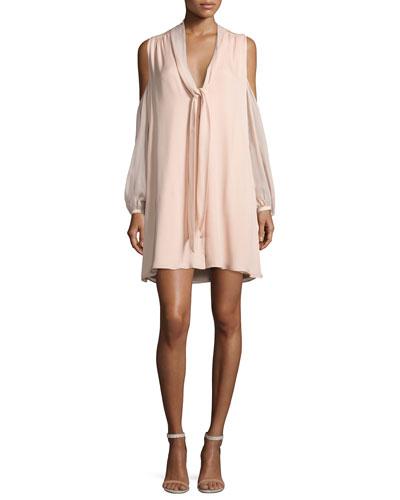 The Vida Cold-Shoulder Silk Mini Dress, Pale Pink