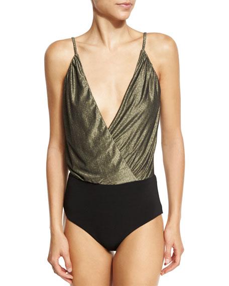 Haute Hippie The Deep V Bodysuit, Gold