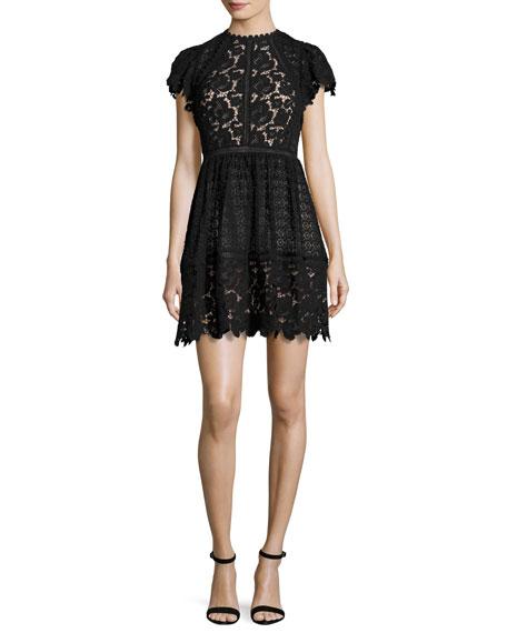 Cap-Sleeve Mixed-Lace Dress, Black