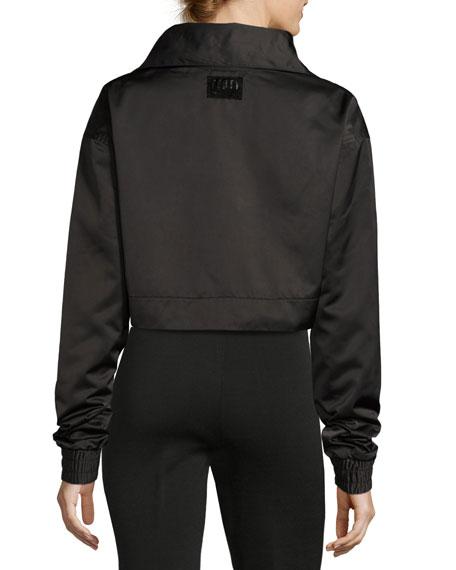 Boxy Cropped Track Jacket, Black