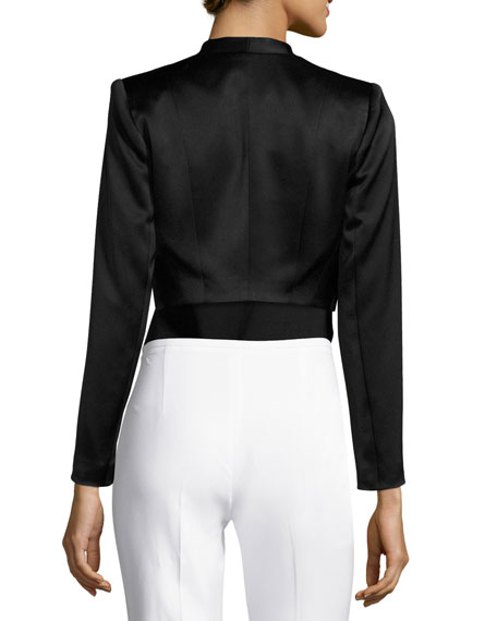 Londyn Open-Front Cropped Jacket, Black