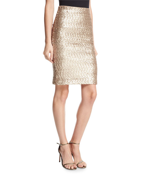 Ramos Sequined Fitted Skirt, Light Pink