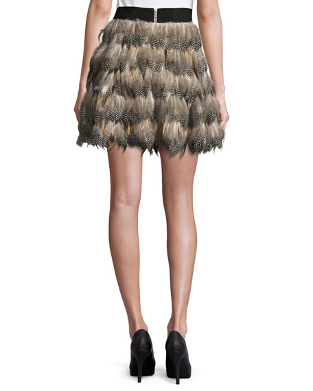 Cina Feather Flared Mini Skirt