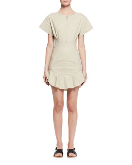 Neit Short-Sleeve Stretch Poplin Flounce Dress, Ecru