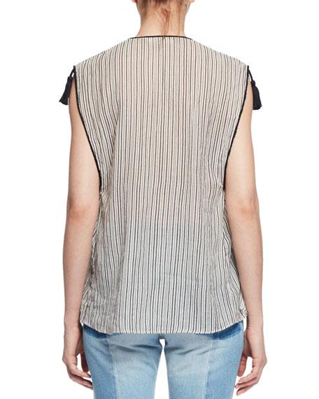 Judith Sleeveless Striped Tassel Top, Ecru