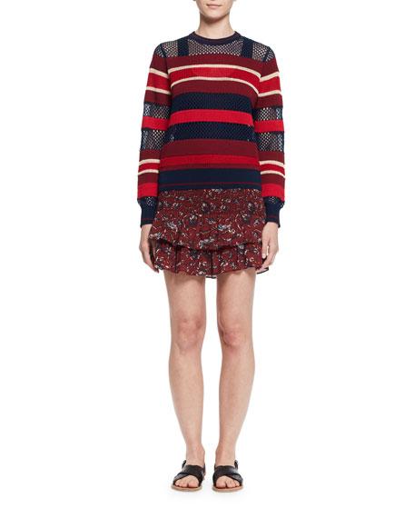 Afos Floral Tiered Flounce Skirt, Burgundy/Gray