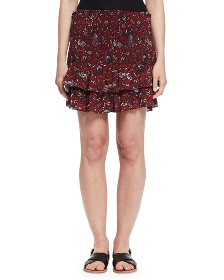 Afos Floral Tiered Flounce Skirt, Burgundy/Gray