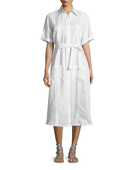 Miguelina Guayabera Midi Shirtdress, Pure White