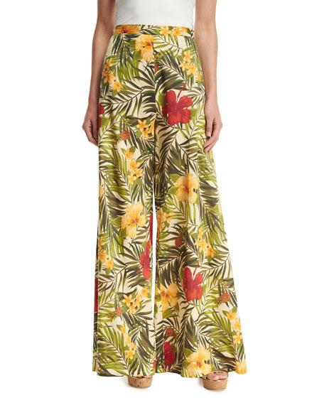 Pamela Tropical Floral-Print Palazzo Pants