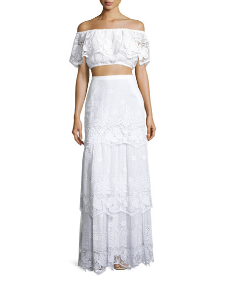 Clarity Tiered Floral Lace Maxi Skirt, Pure White
