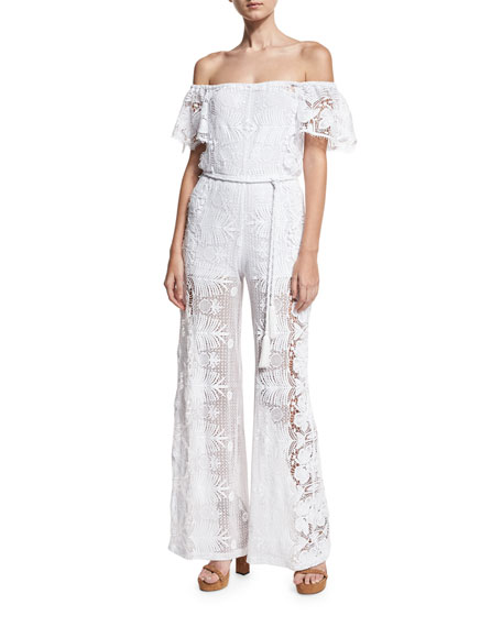 Brisa Lace Off-the-Shoulder Jumpsuit, Pure White