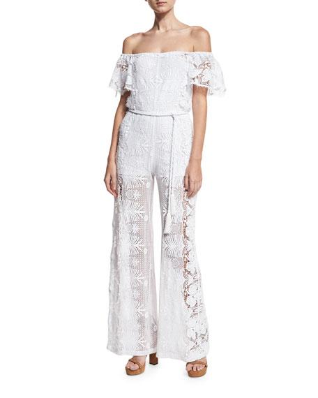Brisa Lace Off-the-Shoulder Jumpsuit, Pure White