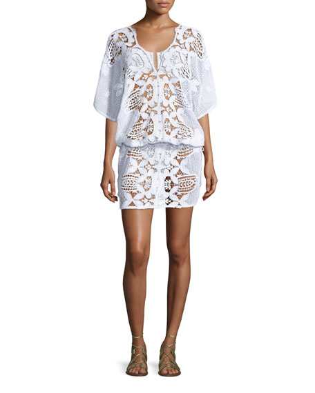 Miguelina KATYA FLORAL LACE COVERUP DRESS