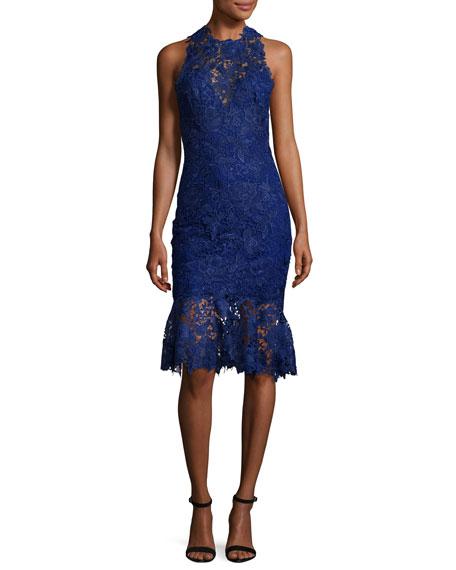 Monique Lhuillier Sleeveless High-Neck Lace Flounce Dress, Navy