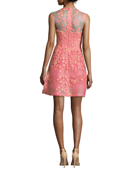 Sleeveless Floral-Appliqué Cocktail Dress, Apricot