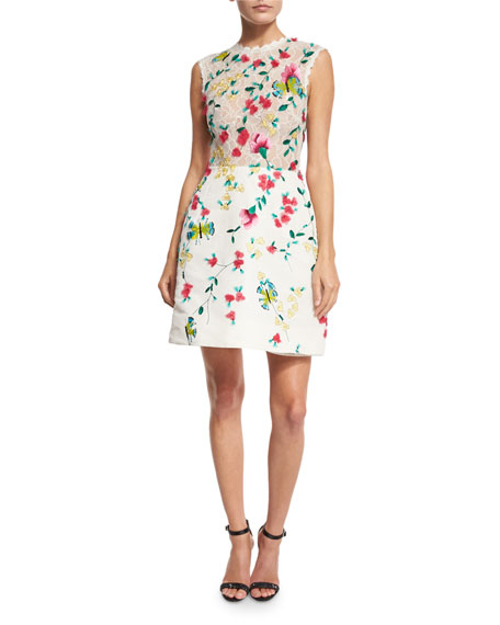 Strapless Floral-Lace Cocktail Dress, White/Multi
