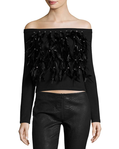 Cropped Feather Fringe Off-the-Shoulder Sweater, Black