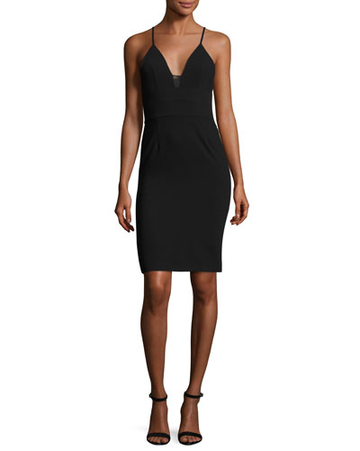 Jean Lace-Inset Fitted Sleeveless Dress, Black