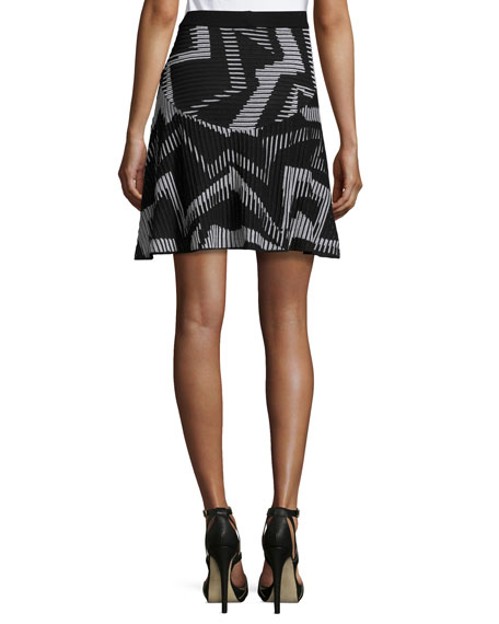 Ribbed Geometric-Patterned Fit-&-Flare Skirt, Black