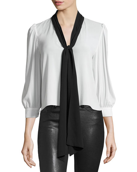Treena 3/4-Sleeve Blouse w/Oversized Tie, Black/White