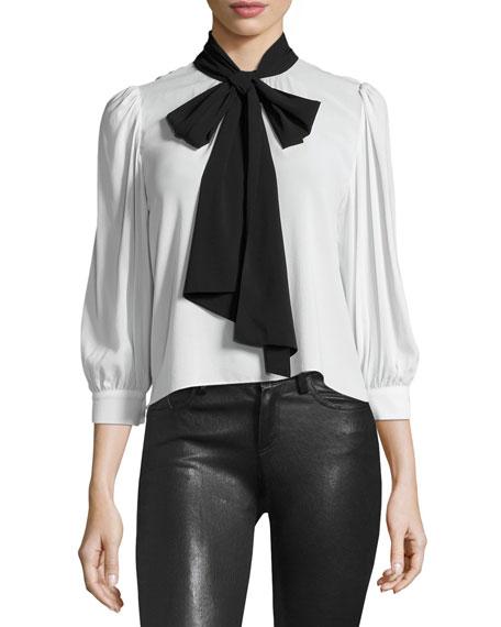 Treena 3/4-Sleeve Blouse w/Oversized Tie, Black/White