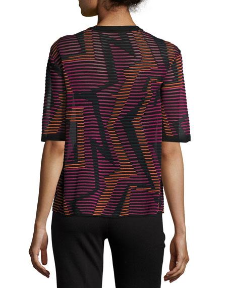 Short-Sleeve Geometric-Knit Top, Fuchsia