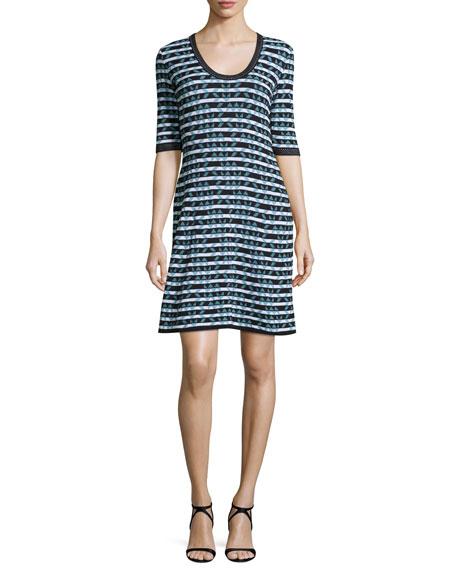 Half-Sleeve Broken Zigzag Dress, Black