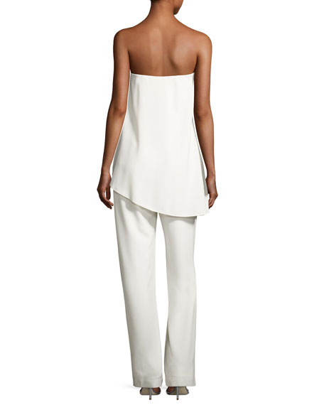 cd6c2b6e19ea Halston Heritage Strapless Jumpsuit w  Asymmetric Overlay