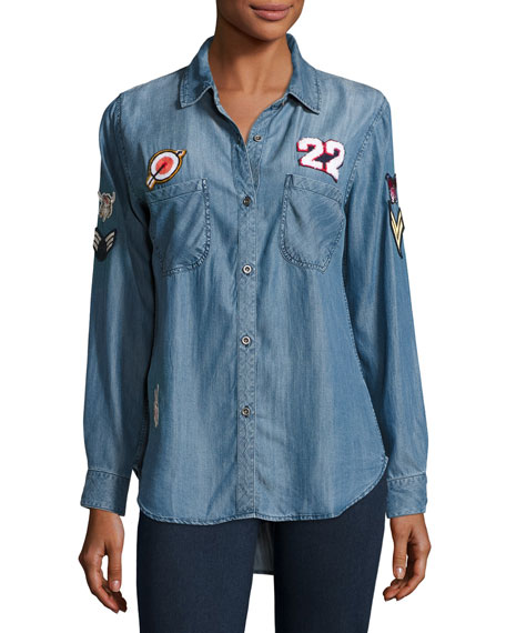 Carter Chambray Shirt w/Patches, Dark Vintage