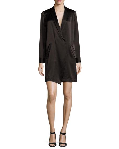 50de2e4367bb Halston Heritage Long-Sleeve Shawl-Collar Satin Shirt Dress, Black