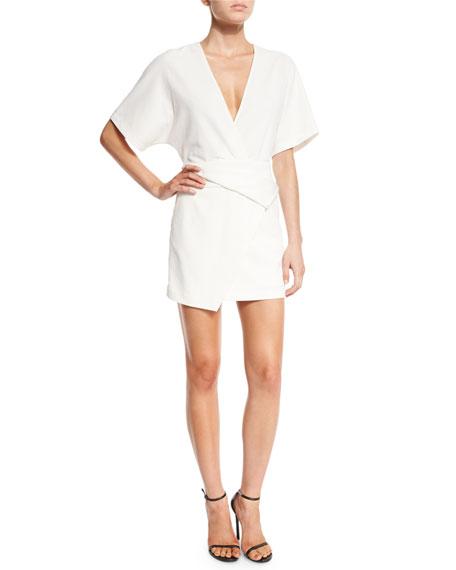 Halston Heritage Short Dolman-Sleeve Deep V-Neck Wrap Dress,