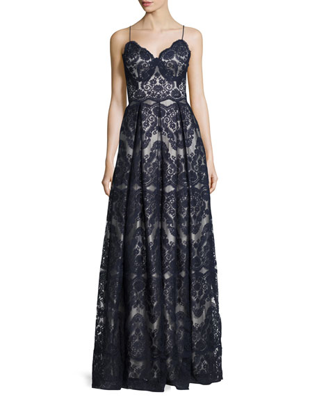 Catherine Deane Sleeveless Pleated Lace Gown, Deep Sea/Silver