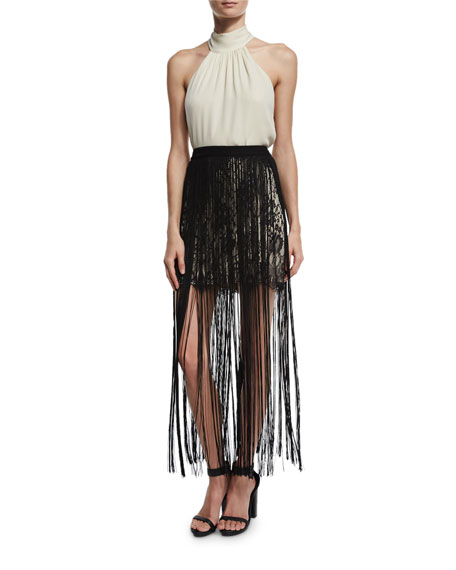 Lace Mini Skirt w/ Silk Fringe, Black