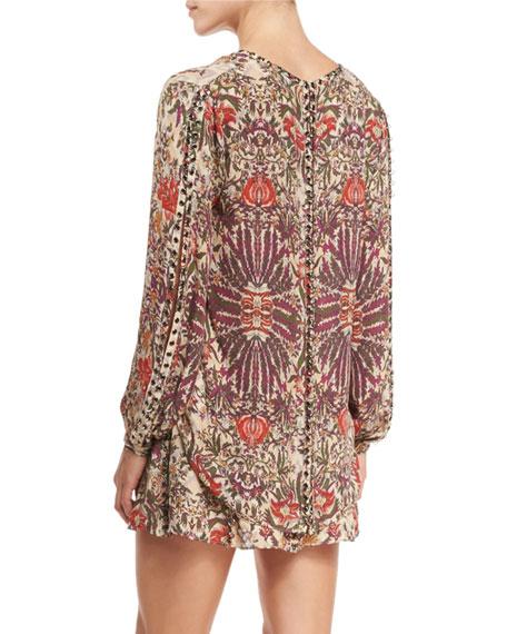 Sagat Long-Sleeve Floral Silk Blouse, Talitha