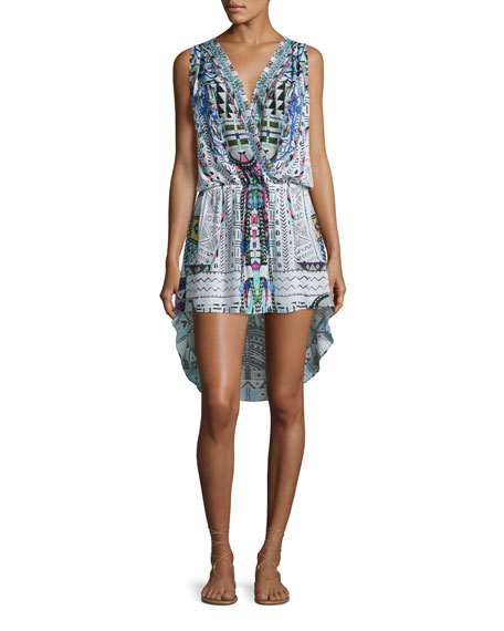 Embellished Surplice High-Low Dress, Maasai Mosh