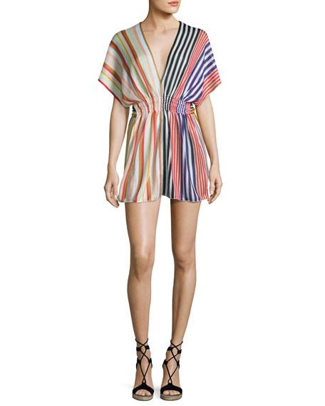Striped Knit Beach Dress, Multi