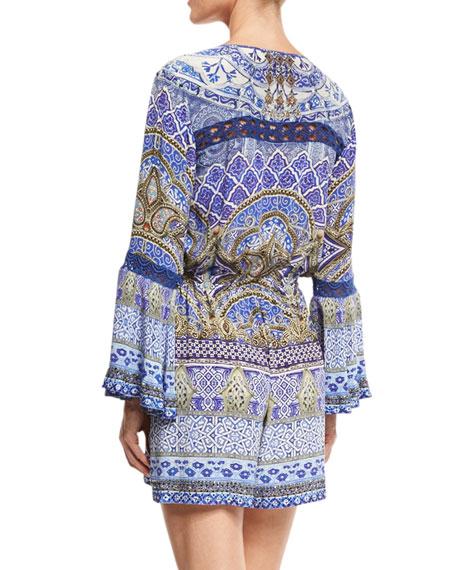 9577dbee5f8 Tie-Front Long-Sleeve Printed Silk Jumpsuit