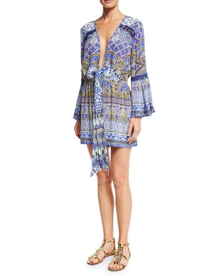 df496466347 Camilla Tie-Front Long-Sleeve Printed Silk Jumpsuit