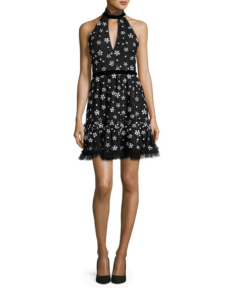 Alexis Poppy Sequined Cocktail Dress, Black