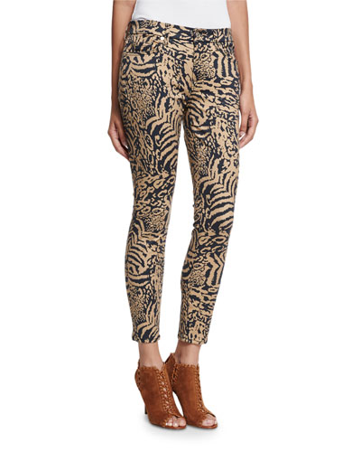 The Ankle Skinny Royal Leopard Jeans