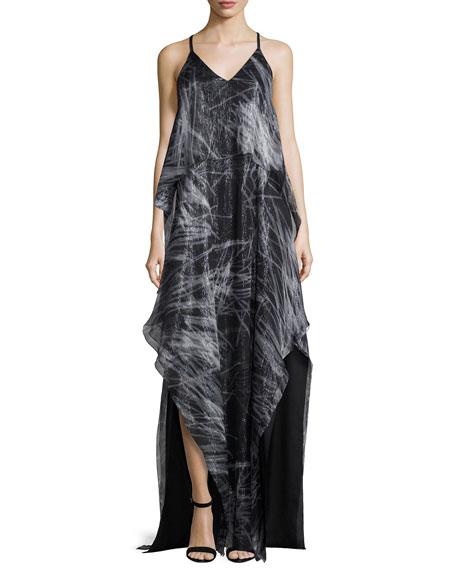 Halston Heritage Sleeveless V-Neck Print Chiffon Gown, Black