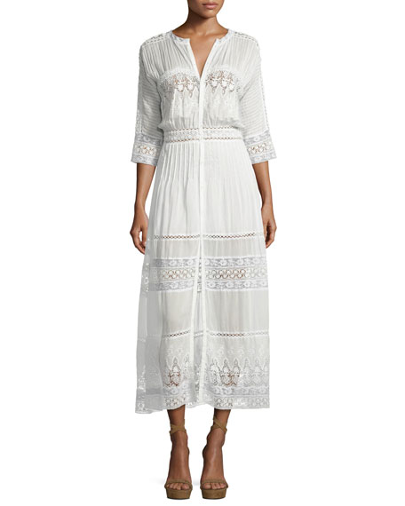 Beth Prairie Lace Button-Front Maxi Dress, White