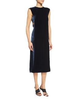 Michelle Sleeveless Velour Shift Dress, Royal